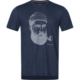 super.natural Graphic Camiseta Hombre, blue iris melange/light grey sailor